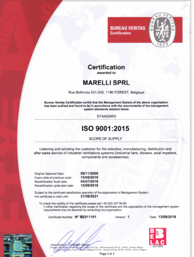 Marelli ISO9001 2015 BV BE11101